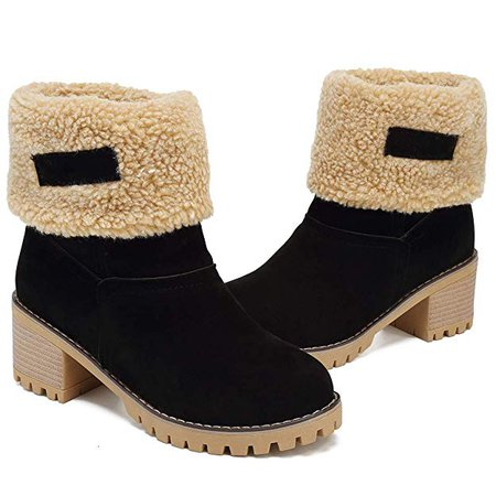 Amazon.com | DOTACOKO Women Cute Warm Short Boots Suede Chunky Mid Heel Round Toe Winter Snow Ankle Booties | Snow Boots