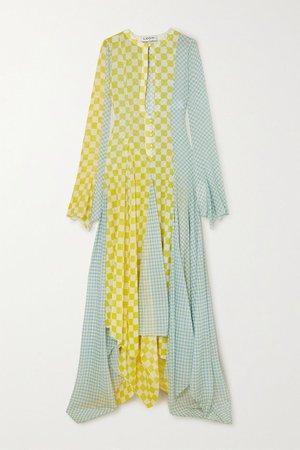 Yellow Asymmetric checked silk-chiffon gown | Lanvin | NET-A-PORTER