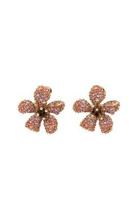14k Gold-Plated And Glass Crystal Flora Magnifica Stud Earrings By Oscar De La Renta | Moda Operandi