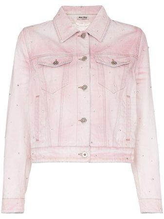 Miu Miu crystal-embellished Denim Jacket - Farfetch
