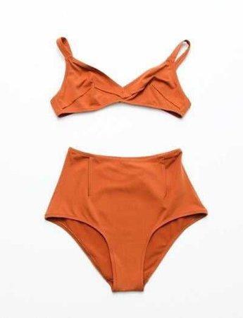 Orange High Waisted Bathing Suit