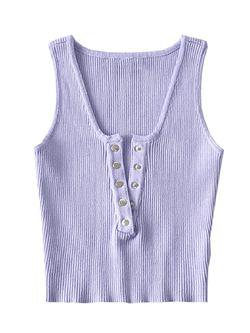 'Olivia' Buttoned Ribbed Tank Top (4 Colors) - Goodnight Macaroon