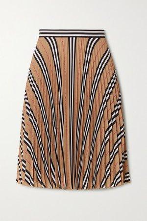Pleated Printed Crepe Skirt - Beige