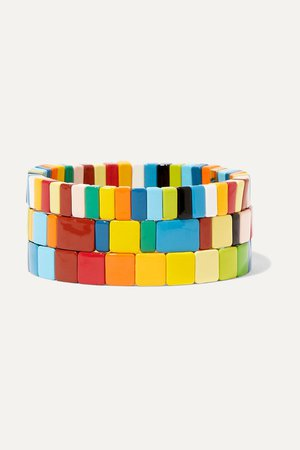 Blue Rainbow Brite set of three enamel bracelets | Roxanne Assoulin | NET-A-PORTER