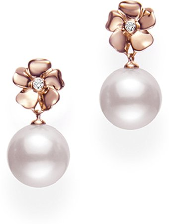 Cultured Pearl & Diamond Flower Earrings