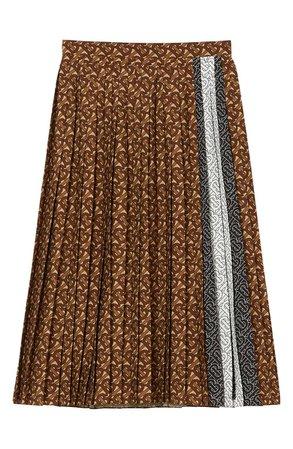 Burberry Marine Pleated Monogram Stripe Skirt   Nordstrom