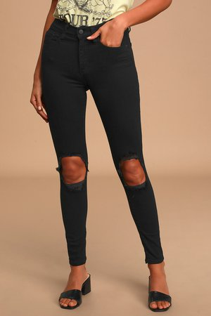 Black Skinny Jeans - High-Rise Jeans - Distressed Skinny Jeans
