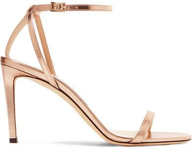 Minny 85 Metallic Leather Sandals - Gold