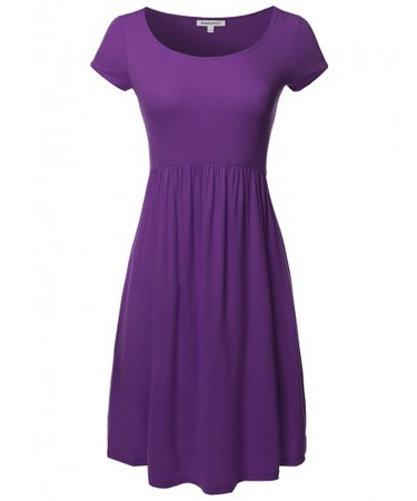 Women's Solid Cap Sleeves Round Neck Knee Length Midi Dress | 07 purple