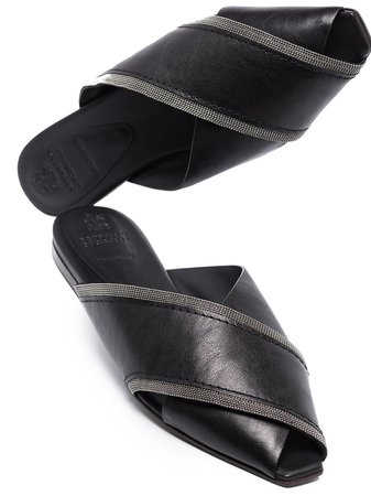 Shop black Brunello Cucinelli crossover flat sandals with Express Delivery - Farfetch