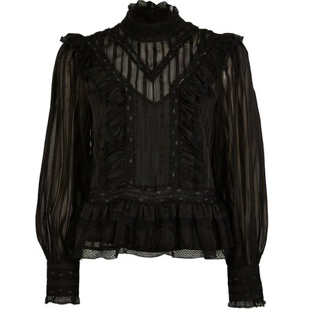 Black long sleeve lace frill blouse top | River Island