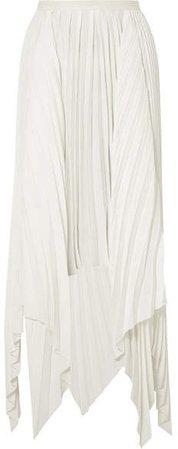 Khaite - Charlotte Asymmetric Pleated Crepe Maxi Skirt - White