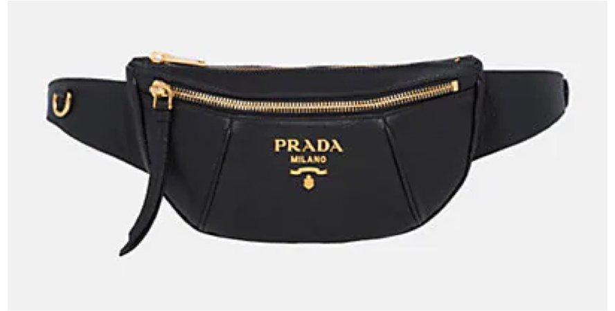 PRADA Daino Leather Belt Bag - Black