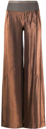 wide-leg metallic trousers