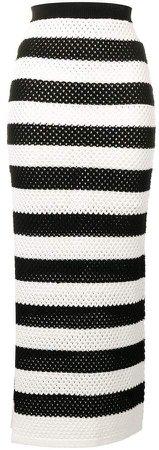 crochet-knit striped skirt