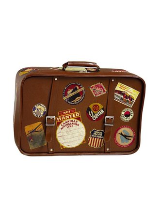 suitcase brown patches vintage filler png