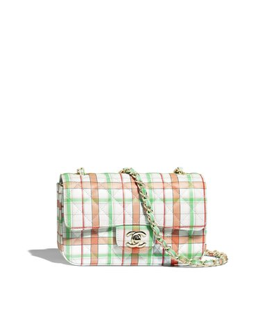 Mini Flap Bag, printed calfskin & gold-tone metal, ecru, orange, green & red - CHANEL