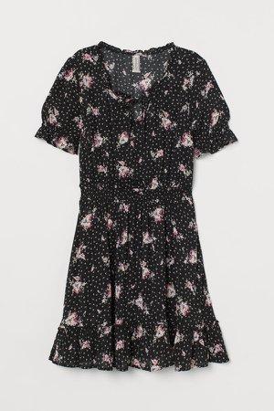 Short Flounced Dress - Black