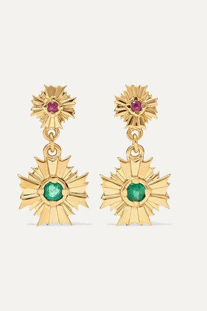 Meadowlark   August gold-plated, ruby and emerald earrings   NET-A-PORTER.COM