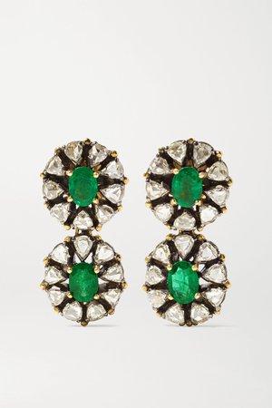 Silver 18-karat gold, sterling silver, emerald and diamond earrings | Amrapali | NET-A-PORTER