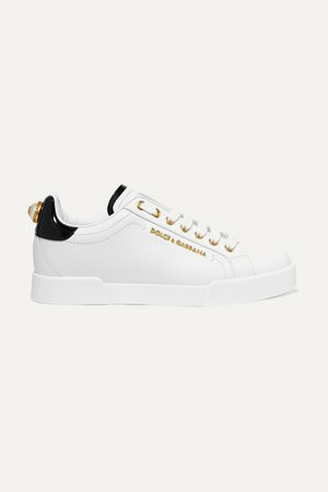 Embellished Leather Sneakers - White