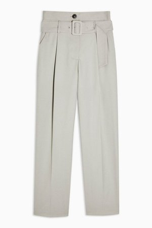 Light Grey High Waist Belted Peg Trousers | Topshop