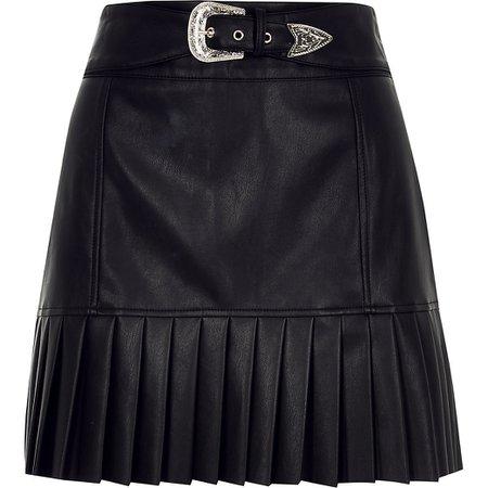 Black faux leather pleated peplum mini skirt   River Island