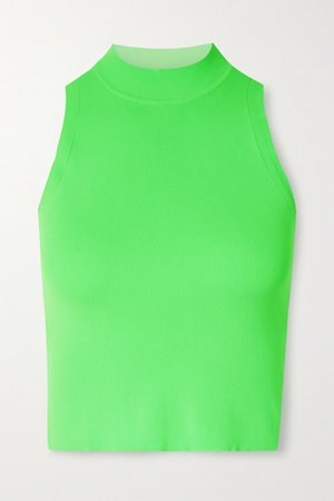 Green Cropped neon stretch tank | Adam Selman Sport | NET-A-PORTER