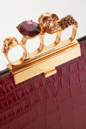 Burgundy Four Ring embellished croc-effect leather clutch | ALEXANDER MCQUEEN