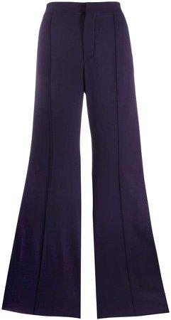 side stripe flared trousers