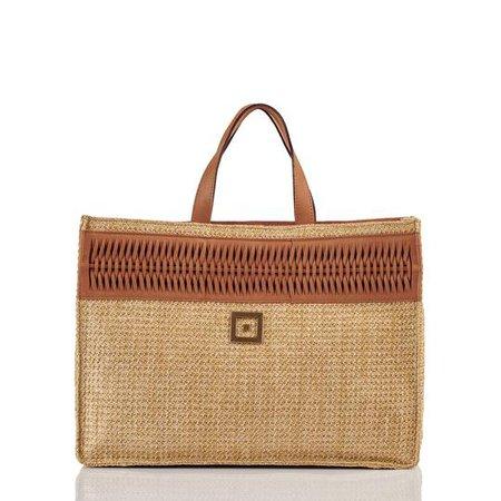 Straw Beach Bag with Leather – Themis Z
