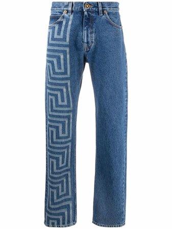 Versace Greca-print straight-leg jeans - FARFETCH