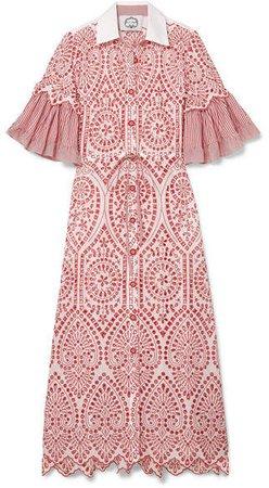 Evi Grintela - Valerie Broderie Anglaise Cotton-poplin Maxi Dress - Pink