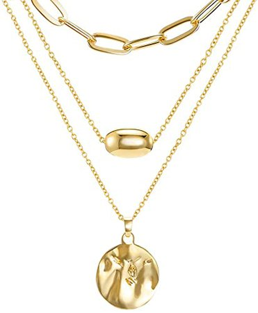 Amazon.com: 18K Gold Plated Layered Necklaces Set, 3 Layers Gold Chain Pendant Layering Necklace (Seperable) for Women Girls Birthday Christmas Gifts with Box: Clothing
