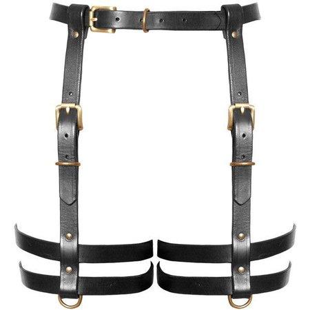 Black Leather Leg Harness with Garter Belt
