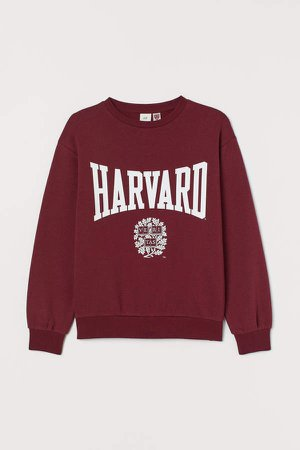 Sweatshirt with Printed Design - Red