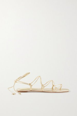 Knotted Leather Sandals - Gold