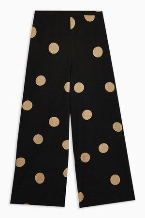Spot Wide-Leg Trousers Polka black | Topshop