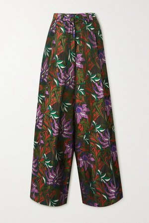 Floral-jacquard Wide-leg Pants - Army green