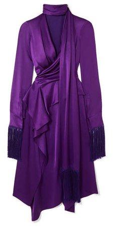 Fringed Cutout Silk-satin Midi Dress - Purple