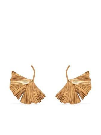 Saint Laurent oversize leaf earrings gold 647493Y1500 - Farfetch