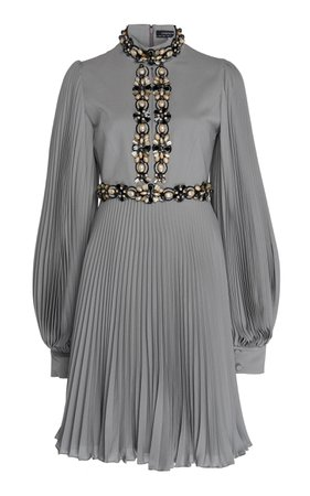 Andrew Gn Pleated Embroidered Silk Dress Size: 46