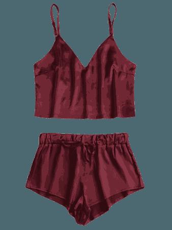 Cami Top And Shorts Satin Pajamas