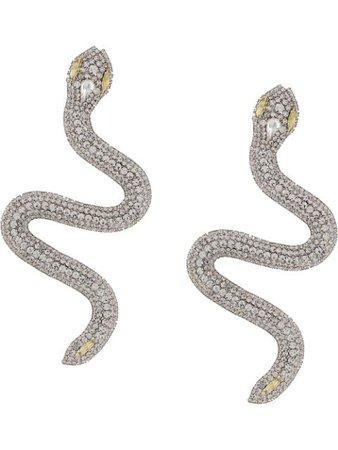 Alessandra Rich crystal-embellished Snake Earrings - Farfetch