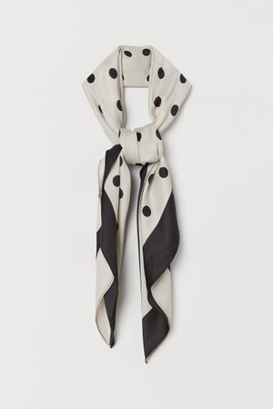 Patterned Satin Scarf - Light beige/black dotted - | H&M CA