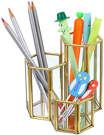Amazon.com : BTSKY Pencil Holder- Handcrafted Glass Pen/Pencil Cup Container Cosmetics Brush Storage Holder for Home, Bathroom, Office : Office Products