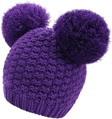 Winter Chunky Knit Beanie for Women with Double Pom Pom Ears, Purple at Amazon Women's Clothing store