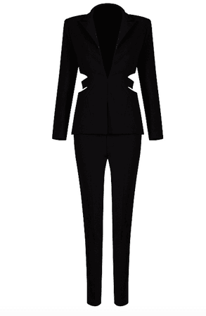 black and white pants suit