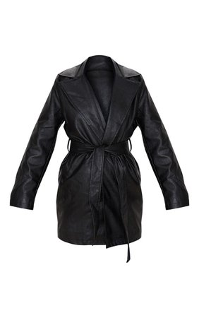 Black Faux Leather Tie Waist Jacket | PrettyLittleThing