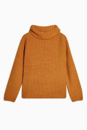 Brown Knitted Chunky Roll Neck Jumper | Topshop
